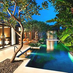 Bali Resort. Resort style living. Landscape design Brisbane. Outdoor room. Swimming  pool.