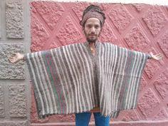Authentic Vintage Alpaca Peruvian Poncho: Handwoven in the Andes Alpaca Poncho, Alpaca Wool, Big Hugs, Hand Weaving, Handmade Items, Men Sweater, Colours, Etsy, Vintage