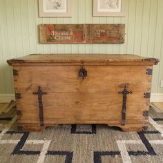 ANTIQUE vintage COUNTRY pine CHEST rustic TRUNK bound coffer BLANKET BOX storage