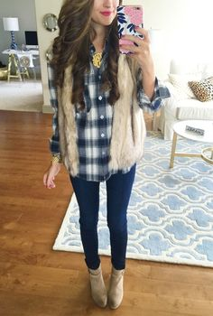 costco flannel, page 6 furry  vest, dark wash jeans, ll beans boots, blue and white washed socks