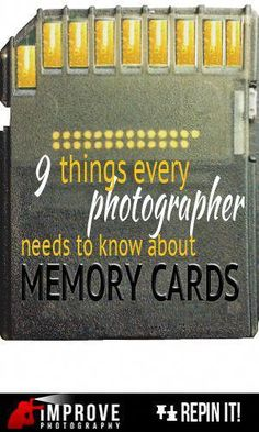 9 things to know about memory cards Photographers are gearheads. We love to know what the latest-and-greatest technology is and what piece of gear will produce optimal results. I admit it. I love the technology side of photography and I enjoy pixel… Improve Photography, Photography Lessons, Photography Camera, Photoshop Photography, Photography Business, Photography Tutorials, Photography Photos, Digital Photography, Wedding Photography