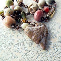 Wire wrapped Beaded Necklace Heart Pendant Handmade Ceramic Beads OOAK Gaea. Would like to make.... or try...
