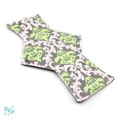 Cloth Menstrual Pad, Mama Cloth, Feminine, Reusable, Maternity, Mamma, WindPro Polartec Fleece, Postpartum Night Pad Damask Vine Charcoal