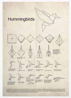 Hummingbird Origami A3 Poster Print. $18.00, via Etsy.:
