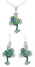 Adorable Spotty Froggy Jewelry designed by Artist Sue Coccia! Buy individually or $56.95 when you purchase as a set! Free U.S. Shipping at http://www.artistgifts.com/frog-jewelry-detail/sue-coccia-frog-jewelry.html