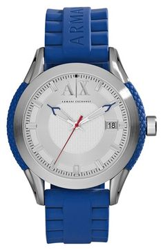 AX Armani Exchange Round Silicone Strap Watch, 47mm available at #Nordstrom