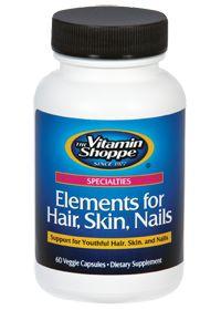 Elements For Hair, Skin, Nails - Buy Elements For Hair, Skin, Nails 60 Veggie Caps at the Vitamin Shoppe #skin #hair #nails