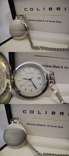 Other Pocket Watches 398: Colibri Silvertone Stainless Steel And 14K Gold Pocket Watch With Date New! BUY IT NOW ONLY: $49.99
