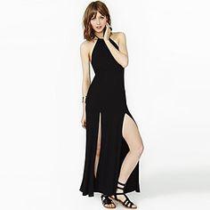Women's Halter Split/Backless Dress , Lycra Maxi Sleeveless – USD $ 27.49