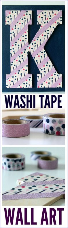 Use this washi tape monogram wall art DIY craft to decorate your home or even a party!   See more party craft and party ideas at CatchMyParty.com