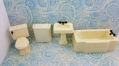 Renwal Sink Tub Hamper and Toilet Doll House Toy Bathroom Hard Plastic Off White MCM  #furniture #SuperiorMarx #ToiletAbodeJohn #TinLitho #RenwalIdeal #miniature #DollHouse #EcochicTeam #MinimalScratch #DollhouseToy #dollhouse#miniatures#dolls#vintagetoys#retro#midcentury#marx#renwal#minimalscratch#etsyseller