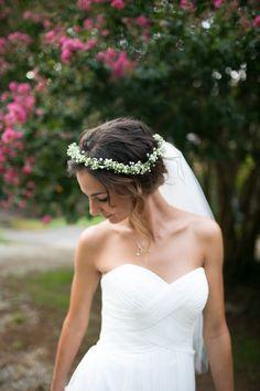 Beautiful bride with a flower crown // Bridal session in Salisbury, North Carolina // Grain