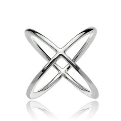 Mondevio Sterling Silver Polished Criss-Cross X Ring (18k Gold over Silver Size 10), Women's, Yellow