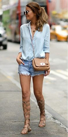Adult Interpretation: denim skirt, blue striped shirt, cross body bag or colorful clutch and sandals