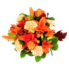 This tiger lilly, peach rose, and white carnation combo is perfect for a wedding boquet