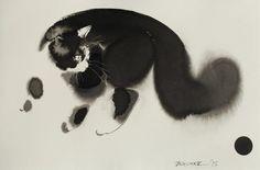 Изображения кошек в чёрно-белых акварелях Эндре Пеновака