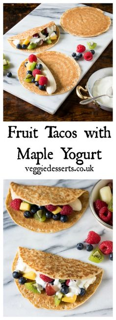Fruit tacos with maple yogurt are a fun treat for breakfast, snack or dessert! #fruittacos #tacos #healthykids #fruitdessert via @katehax