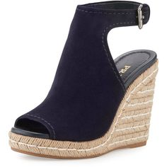 Prada Suede Open-Toe Espadrille Glove Sandal ($790) ❤ liked on Polyvore featuring shoes, sandals, heels, bleu, espadrille wedge sandals, platform heel sandals, blue suede sandals, open toe wedge sandals and blue heel sandals