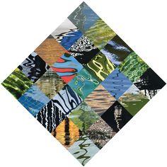 Kartensujet auf Spitze stehendem Quadrat unter Verwendung von Wasserbildern. Water Images, Lace, Cards