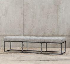 "Bordeaux Industrial Metal Upholstered Dining Bench 72"" | Zin Home"