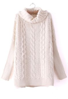 Beige High Neck Long Sleeve Split Sweater >> This looks so warm and cozy!