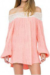 Sexy Off-The-Shoulder Long Sleeve Laciness Ruched Women's Dress