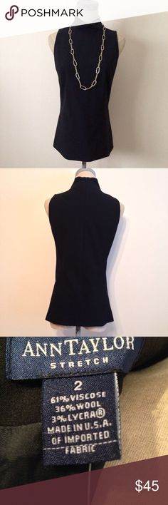 """NWT Ann Taylor Black Cowl Neck Sleeveless Blouse NWT Ann Taylor Black Cowl Neck Sleeveless Blouse w/ Back Zip.  Pleated front and back, which provides extra room thru bust.  Fully lined.  11 1/2"""" shoulder to shoulder; 16"""" bust (measured arm pit to arm pit); 23 1/2"""" L (measured shoulder to hem).  61% viscose, 36% wool, 3% lycra.  Dry clean only.  🚫 Trades ✅ Offers appreciated and reviewed.  NOTE:  Sigrid Olsen necklace is not for sale...yet! Ann Taylor Tops Blouses"""
