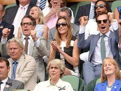 benedict cumberbatch and hugh grant at Wimbledon game; 7/12/2015