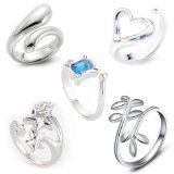 Adjustable Rings for women - Open Back .925 Sterling Silver Rings (one size fits all rings). Many Styles!