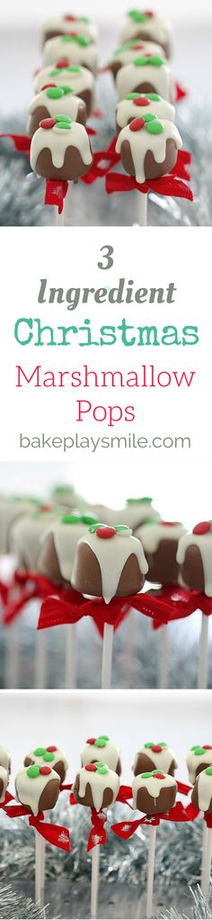 The perfect gift for family or friends (or even a class party!)... these 3 ingredient Christmas Marshmallow Pops look just like a mini…