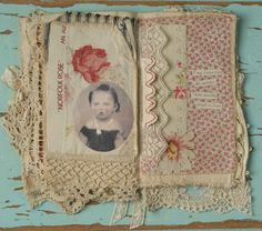 Mixed Media Fabric Collage Book of Red Red Roses   eBay