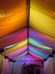 walkway tent lit in multi colors