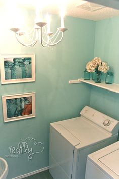 Redfly Creations: Laundry Room Reveal Wall color = Rivers edge by behr I want this for my bathroom.