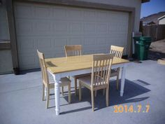 Butcher Block Table Top 3ft x 5 ft. Four chairs padded cloth seats. 1 year old-hardly used. $300.00 USD