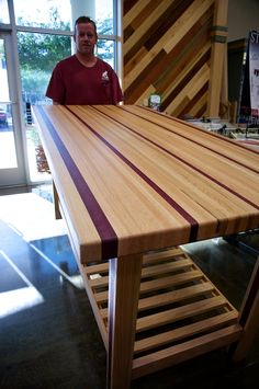 A 170-Pound Purple Heart & Red Oak Table by Doug Johnson – Woodworkers Source Blog