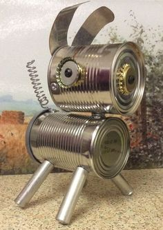 Compassionate synchronized metal working projects Contact Me Tin Can Art, Tin Art, Aluminum Can Crafts, Metal Crafts, Metal Projects, Metal Garden Art, Metal Art, Tin Can Animals, Soda Can Crafts
