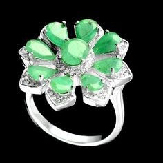 Natural 4.4 Cts Top Pear Green Emerald White Cz 925 Sterling Silver Fine Ring R1 #Handmade #Cluster #Anniversary