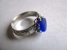 Beach+Glass+Rings | Cobalt Blue Ring - Sea Glass Ring - Beach Glass Ring