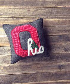 Ohio Pillows, Buckeyes, Ohio State, Felted Wool