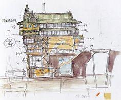 Film: Spirited Away (千と千尋の神隠し) ===== Background Design: Bath House Exterior ===== Hayao Miyazaki
