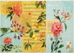 Rice Paper for Decoupage Decopatch Scrapbook Craft Sheet Flowers on Turquoise