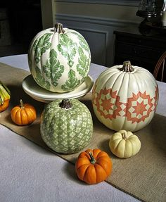 Pumpkins decopaged with fabric. Gorgeous!
