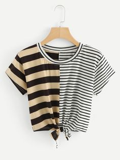 #mothersday #AdoreWe #ROMWE - #ROMWE Contrast Stripe Knotted Hem Crop Tee - AdoreWe.com Girls Summer Outfits, Trendy Outfits, Cool Outfits, Fashion Outfits, Sims 4 Dresses, Badass Outfit, Belly Shirts, Korean Fashion Kpop, Cute Crop Tops