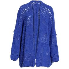 Women's Free People Saturday Morning Cardigan ($148) ❤ liked on Polyvore featuring tops, cardigans, oversized cardigan, blue cardigan, over sized cardigan, free people cardigan and thick knit cardigan