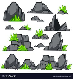 Cartoon Stone Set by Sonulkaster Rock stone cartoon flat style. Set of different boulders with grass. Drawing Rocks, Wall Drawing, Rock Clipart, Aquarium Landscape, Cute Love Pictures, Fox Art, Environmental Art, Graphic Design Art, Stone Painting