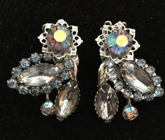 Vintage Clip Earrings Rhinestone Aurora Borelis Jewelry by MOJEART