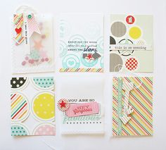 Handmade project life cards with Pink Paislee's Hey Kid collection.