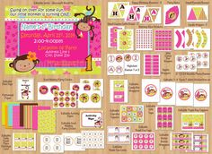 Monkey Love Birthday Party Package, Monkey Birthday Party Invite & Printables, 1st Birthday Girl or Any Age, DIY Editable WORD Files and PDF...