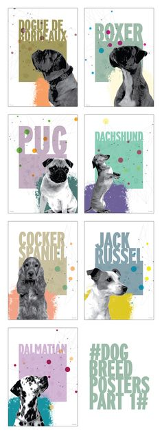 Dog Breed series of Posters and Print Design. Part 1 Boxer, Koi, Dog Breeds, Print Design, Unique, Movie Posters, Handmade, Crafts, Manualidades