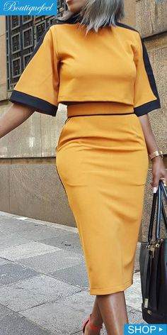 Colorblock Short Sleeve Crop Top & Slinky Skirt Sets Source by dress outfits Skirt And Top Outfit, Crop Top Dress, Crop Top Outfits, Dress Outfits, Skirt Set, Dress Shoes, Casual Work Dresses, Casual Outfits, Dresses For Work